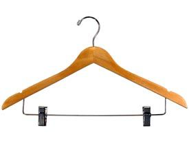 Wooden Clothes Hangers are durable and versatile. We have a variety of styles of wood clothing hangers to meet your store display needs: Shirt Hangers, Skirt Hangers, Coat Hangers, Pant Hangers, Trouser Hangers, Suit Hangers & Dress Hangers. Our Selection includes  Natural Hangers,  Walnut Hangers, and Raw Wood Hangers available in these styles. These wholesale hangers are also available with special bulk hanger pricing for large quantity requests.